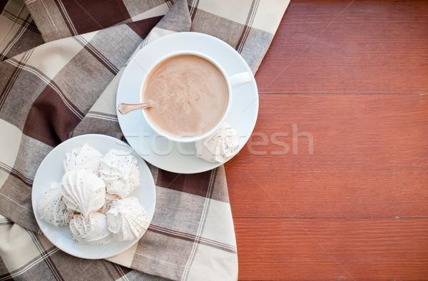 Caffè rosolare panno Cup tavolo in legno home Foto d'archivio © manera