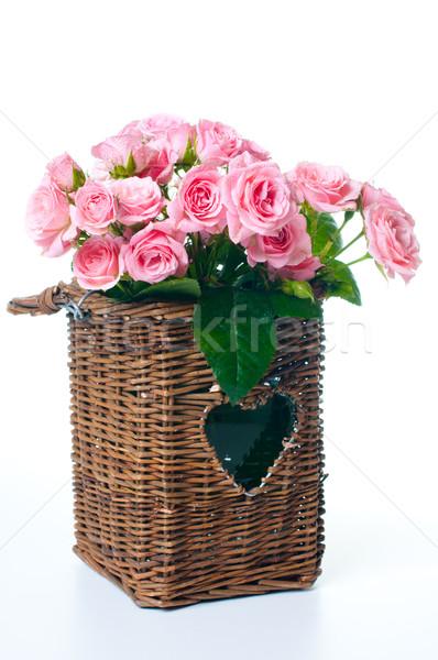 Bukiet różowy róż wiklina koszyka biały Zdjęcia stock © manera
