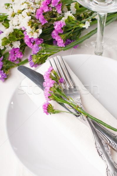 таблице украшение свежие цветы вечеринка Сток-фото © manera