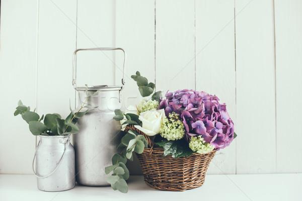 Rusztikus lakberendezés nagy virágcsokor friss virágok Stock fotó © manera
