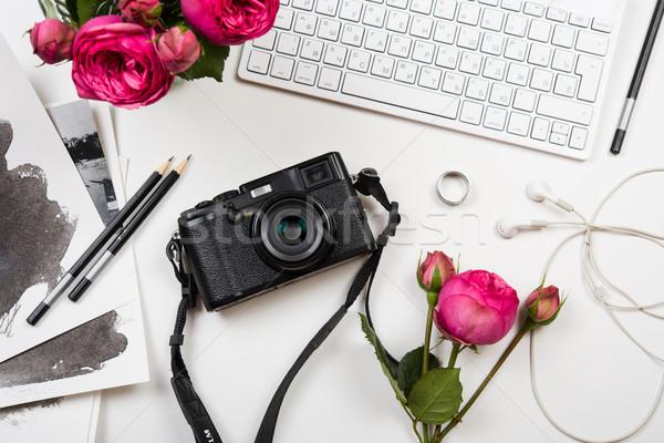 Moderne roze bloemen foto camera Stockfoto © manera