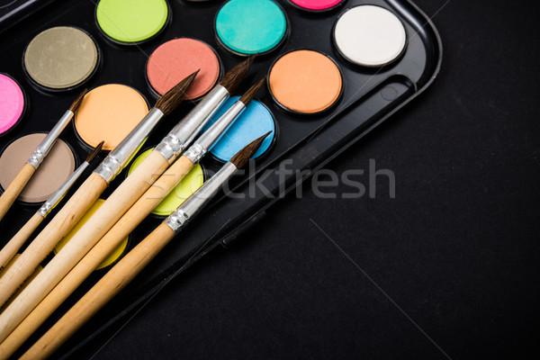 Сток-фото: новых · акварель · краской · набор · работу · столе