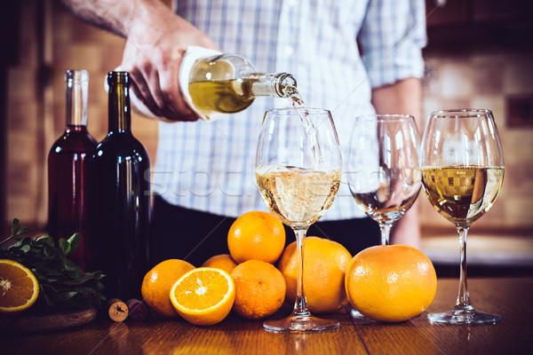 человека белое вино бутылку стекла домой интерьер кухни Сток-фото © manera