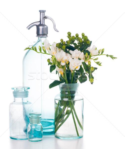 Klasszikus lakberendezés ősi türkiz virágcsokor üvegek Stock fotó © manera