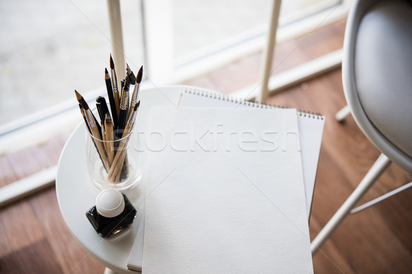 Stock fotó: Kreatív · munkaterület · művészi · festék · papír · tiszta