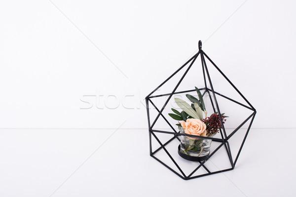 Mértani modern lakberendezés virágok fehér rózsa Stock fotó © manera