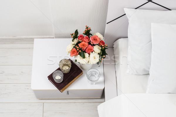 Asztal dekoráció belső fehér hálószoba új Stock fotó © manera