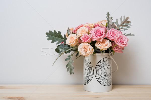 розовый бежевый роз букет декоративный ваза Сток-фото © manera