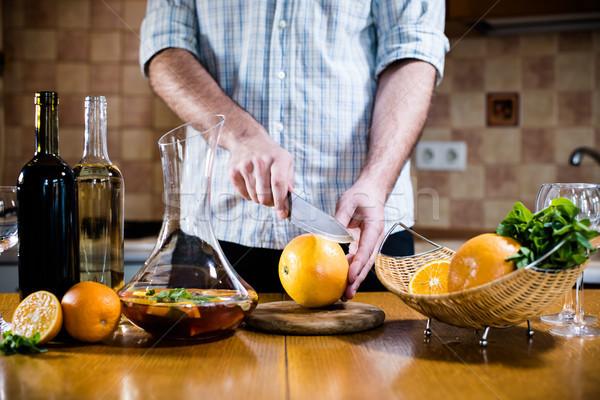 Adam taze ev parti mutfak iç Stok fotoğraf © manera