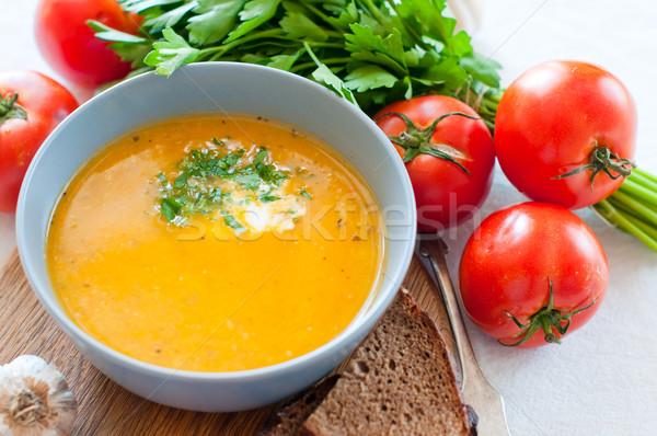 Diétás zöldségleves kerámia tál közelkép fény Stock fotó © manera