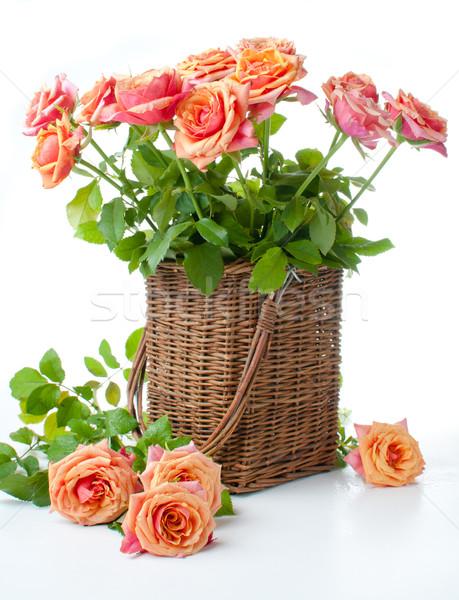 Arrangement rozen mand oranje kleuren Stockfoto © manera