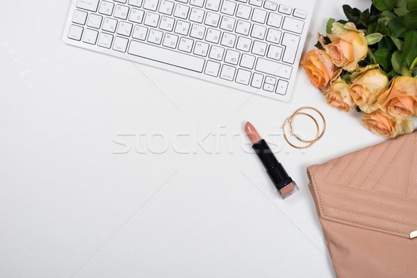 Stock fotó: Nőies · irodai · asztal · munkaterület · vázlat · virágok · kézitáska