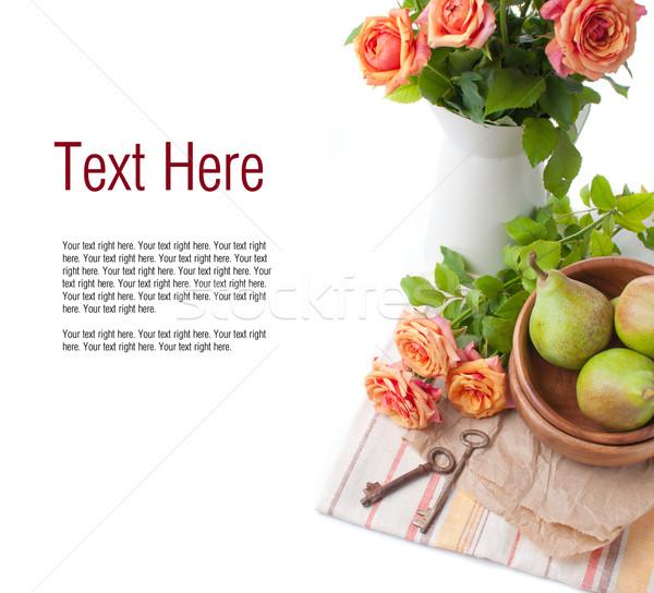 Egyezség rózsák narancs fehér háttér űr Stock fotó © manera