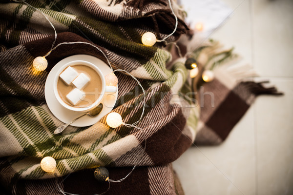 Csésze kávé meleg pléd karácsony kényelmes Stock fotó © manera