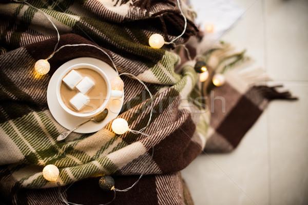 Taza café caliente manta Navidad Foto stock © manera