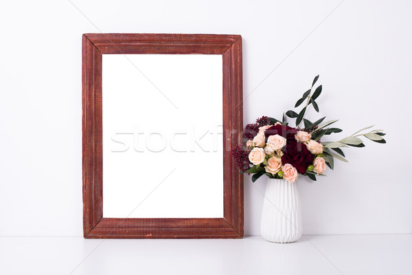 Wooden frame and flowers, home decoration mock-up  Stock photo © manera