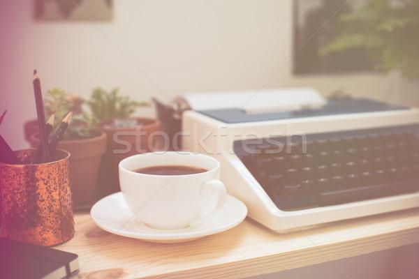 ヒップスター 作業 スペース スタイリッシュ レトロな タイプライター ストックフォト © manera
