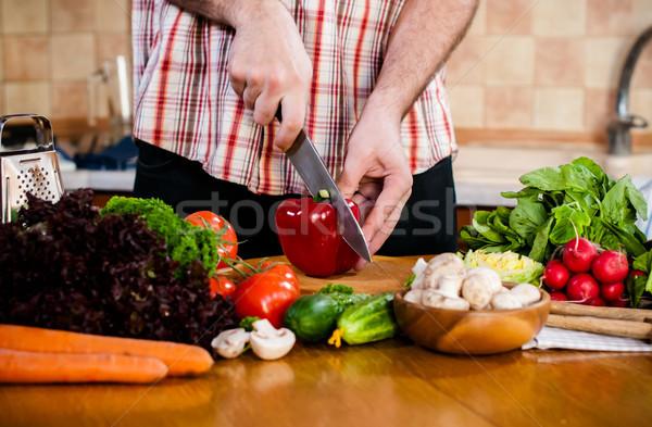 Stockfoto: Man · vers · voorjaar · groenten · keukentafel