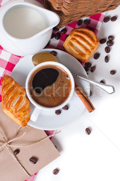 Heerlijk ontbijt mooie koffie tafelkleed Stockfoto © manera