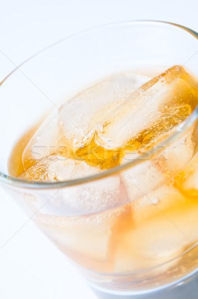 Foto stock: Primer · plano · vidrio · bebida · fría · hielo · agua · frutas