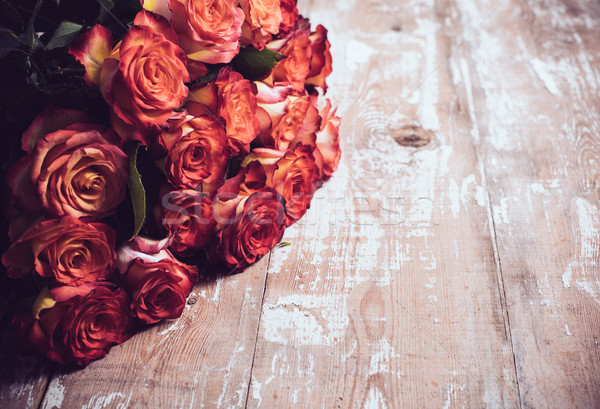 roses on an old wooden board Stock photo © manera