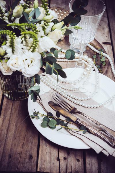Jahrgang Hochzeit Tabelle Dekor Geschirr Blumen Stock foto © manera