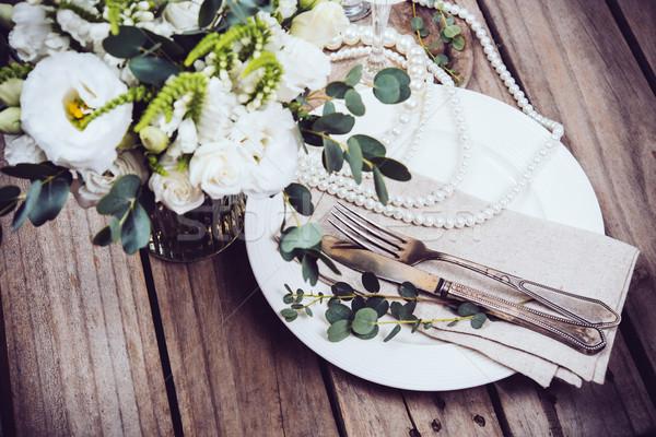 ヴィンテージ 結婚式 表 装飾 食器 花 ストックフォト © manera