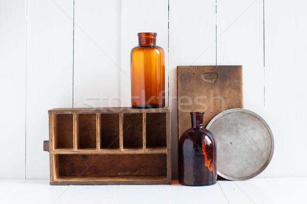Retro lakberendezés klasszikus öreg fából készült dobozok Stock fotó © manera
