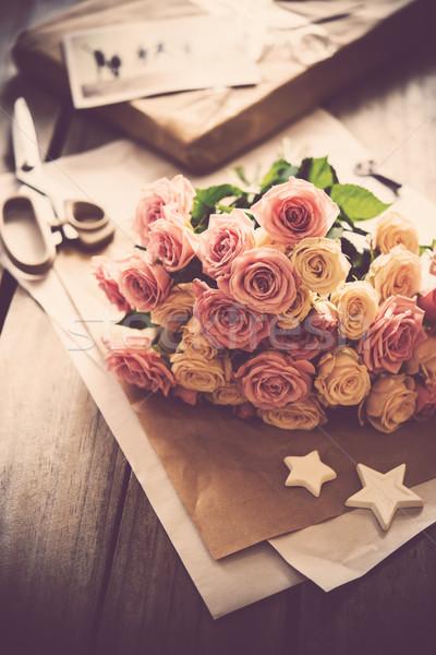 pink roses, craft paper Stock photo © manera