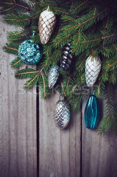 ágak karácsony díszítések lucfenyő öreg fa deszka Stock fotó © manera