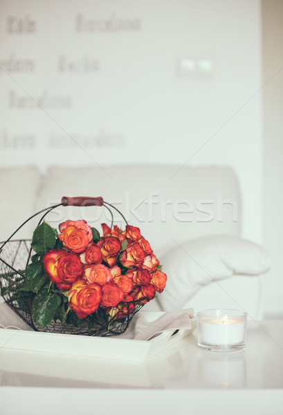roses in basket on a table Stock photo © manera