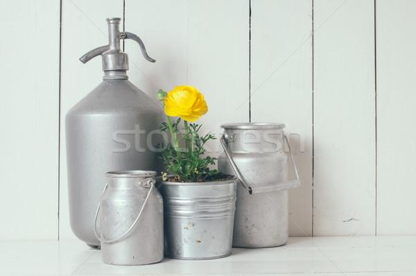 Lakberendezés friss természetes tavaszi virágok fém kellékek Stock fotó © manera