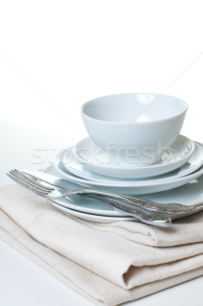 stack of clean white dishes Stock photo © manera
