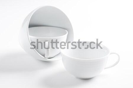 Négy különböző fehér csészék boglya konyha Stock fotó © manera