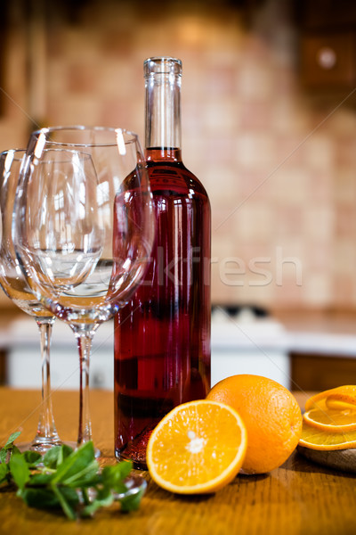Vinho garrafas óculos fruto tabela confortável Foto stock © manera