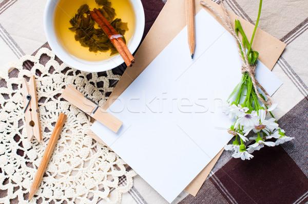 Stok fotoğraf: Boş · karton · kart · çiçekler · zarf · kumaş