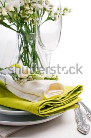 Stock fotó: ünnepi · asztal · kész · sablon · bézs · rózsák