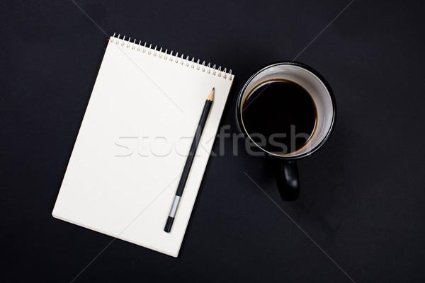 Stok fotoğraf: Beyaz · kâğıt · notepad · fincan · kahve · siyah