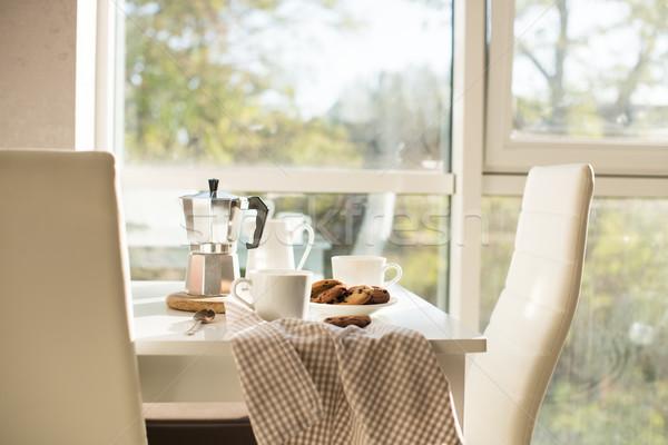 Fransız ev kahvaltı kahve kurabiye Stok fotoğraf © manera