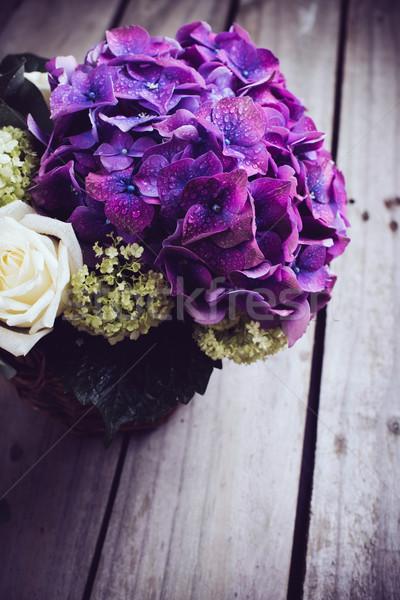 большой букет свежие цветы Purple белый Сток-фото © manera