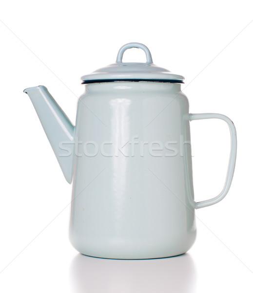 Bağbozumu emaye kahve pot açık mavi yalıtılmış Stok fotoğraf © manera