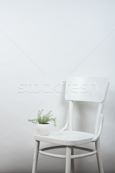 chair and empty wall background, interior art poster mock up Stock photo © manera
