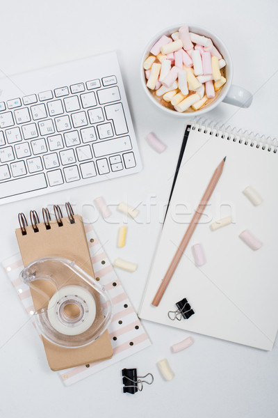 womans office table with coffee and marshmallows Stock photo © manera