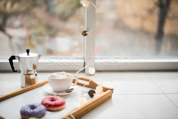 Confortable maison week-end café bonbons plateau Photo stock © manera