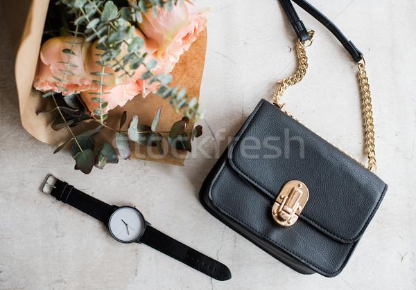 Feminine tabletop, flowers, elegant handbag Stock photo © manera