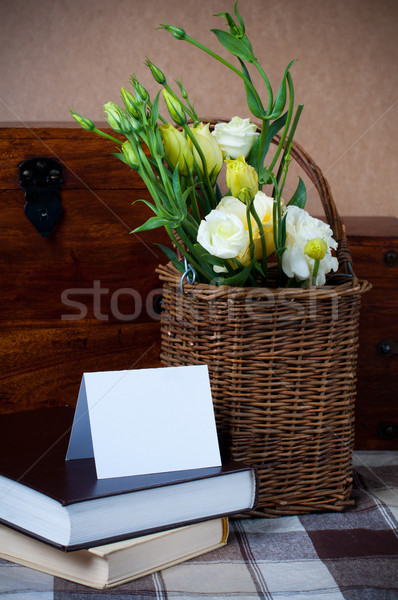 flowers in a wicker basket, and greeting card Stock photo © manera