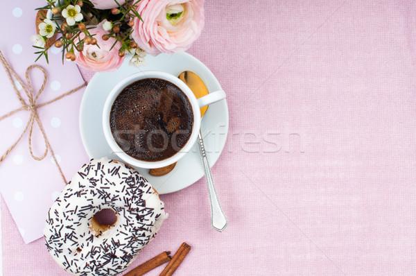 Photo stock: Déjeuner · rose · couleurs · café · fleurs · bonbons