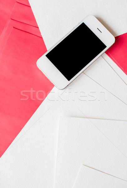 Stock fotó: Okostelefon · fehér · piros · papír · tiszta · üres