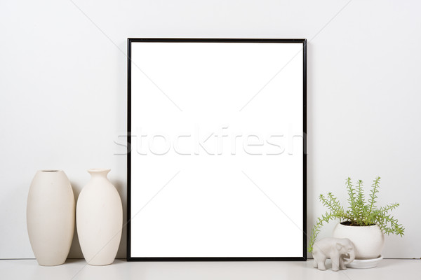 Styled tabletop, empty frame, painting art poster interior mock- Stock photo © manera