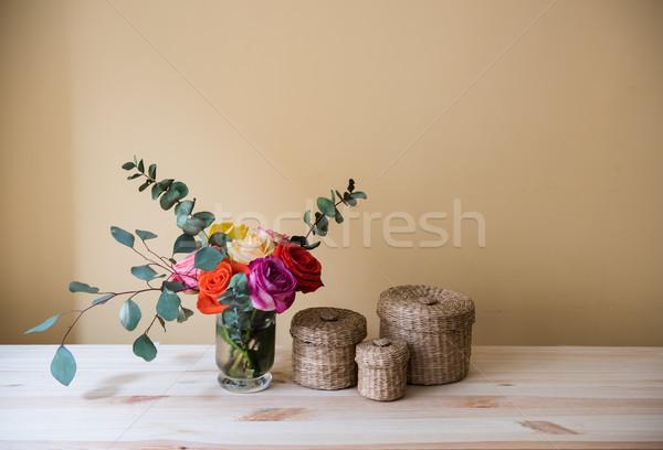 Vaso decorativo scatole bouquet colorato rose Foto d'archivio © manera